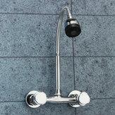 Хромированная раковина Смеситель для смесителя Двойная ручка Горячая холодная вода Смеситель регулируемый Поворотный носик Кухня