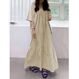 Solid Color Cotton Square Neck Holiday Loose Layered Maxi Dress