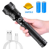 XHP70.2 9000LM USB Rechargeable Zoomable Flashlight Set with 26650 Battery USSB Cable Focus Adjustable Outdoor Camping Hunting Fishing Searchlight