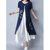 Kadın Kısa Kollu Çiçekli Baskı Gevşek Hırka Düğmeler Cep Elbiseleri