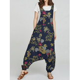 Floral Print Sleeveless Baggy Jumpsuit with Side Zipper