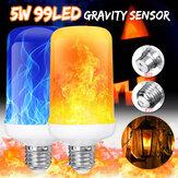 4 modos Gravidade Sensor B22 E27 Chama Efeito Fogo Lâmpada Super Brilhante 96 LEDs Atmosfera Decorativa Luz Natal Decoração Lâmpada