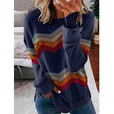 Damski Colorful Chevron Print Sweter z długim rękawem Casualowe bluzy