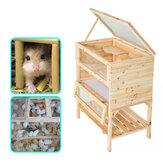 Ahşap 3 Katlı Hamster Kafesi Ahşap Ev Pet Mouse Küçük Hayvanlar Sıçanlar Egzersiz