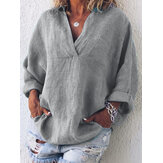 Women Casual V Neck Pocket Long Sleeve Solid Blouse