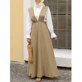 Women Sleeveless Solid Color V-neck Side Zipper Loose Casual Maxi Dress