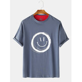 Men Graffiti Smile Crew Neck Manga curta Casual T-Shirts