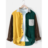 Herr Corduroy Colorblock Patchwork Loose Chest Pocket Långärmade T-shirts