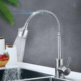 Modern Waterfall Kitchen Sink Mixer Flexible Tap Spout Spray Basin Chrome Faucet Stainless Steel