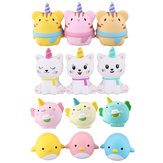 WOOW Squishy 3Pcs Kawaii Unicorn Animal Toys a rimbalzo lento con imballaggio