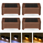 4PCS Solar Powered LED Deck Light Step Stairs Cerca Lamp para Pátio Garden Path IP55