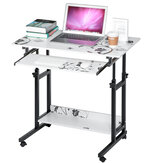 2 Layers Mobile Laptop Desk Cart Rolling Notebook Computer Stand Height Adjustable Bedside Table with Keyboard Tray Wheel