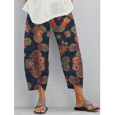 Étnico Floral Imprimir Elastic Side Pocket Irregular Casual Calças Para Mulheres