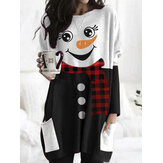 Women Christmas Snowman Print Double Pocket Casual Long Sleeve Blouses