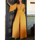 Combinaisons décontractées de couleur unie à manches longues et à manches longues pour les femmes