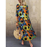 Vintage Graffiti Print Half Sleeve Cotton Bohemian Beach Dress