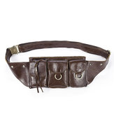 Men Vintage Genuine Leather Waist Bag Durable Retro Crossbody Bag