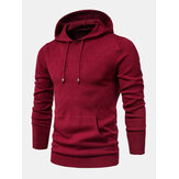 Mens Warm Simple Solid Color Knitted Hooded Sweaters With Pocket