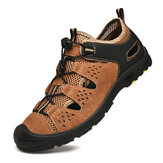 Men Genuine Leather Breathable Non Slip Toe Protected Soft Bussiness Casual Outdoor Shoes