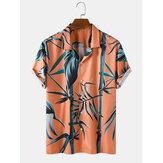 Chemises à manches courtes tropicales en bambou pour homme
