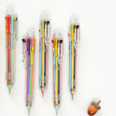 5Pcs/lot 8 In 1 Multifunction Colorful Ballpoint Pen Pressed Ballpoint Pen 0.5mm School Supplies