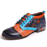 SOCOFY Bohemian Pattern Colorblock Genuine Leather Stitching Comfy Flat Shoes