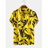 Bangood Tasarlanmış Erkek Tropikal Yaprak Baskı Kısa Kollu Gömlek
