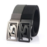 125CM 4CM Width Metal Press Buckle Canvas Belt Men's Tactical Belt,Leisure Breathable Nylon Waist Belt