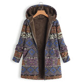 Floral Print Fleece Thicken Hooded Long Sleeve Vintage Coat