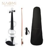 Электрическая скрипка NAOMI 4/4 Электрическая скрипка Бесшумный Полноразмерная скрипка из черного дерева Гриф с Сумка