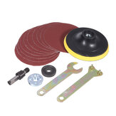 4 Inch Sanding Pad with 10pcs Sandpapers and 5pcs Flange Nuts Grinding Accessories for Polishing Abrasive Tools