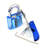 Foldable Door Lock Opener with Transparent Cutaway Inside View PadLock Lock Pick Set
