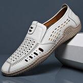 Microfibra da uomo scava fuori cuciture a mano traspiranti Soft fondo slip on scarpe casual
