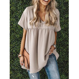 Daily Wild Solid Color V-neck Short Sleeve Loose Casual Blouse