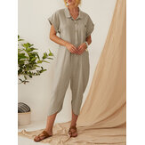 Vintage Solid Color Button Down Turn-down-Collar Jumpsuit Para Mulheres
