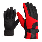 Motorcycle Leather Gloves Touch Screen Winter Warm Waterproof Red Blue Black Grey