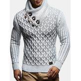 Pulls chauds à col montant à texture tricotée pour hommes
