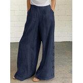 Women Cotton Solid Color Button Side Pocket Elastic Waist Wide Leg Pants