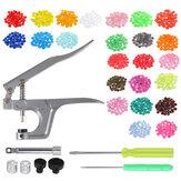 350Pcs DIY Craft KAM Snaps T5 Snap Starter Plastik Poppers Bağlantı Elemanları + Penseler