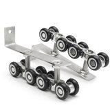 2pcs aço inoxidável deslizante de madeira porta armário pista polia pendurado 8 rodas