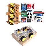 4WD DIY Smart Chassis Car Kit  For  with UNO R3 + Ultrasonic Module+Motor drive board/3-6v TT Motor