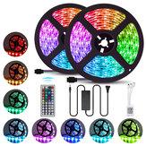 2PCS 5M 5050 LED Strip Light RGB Lampe décorative étanche + alimentation + 44 touches télécommande DC12V