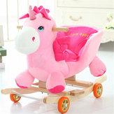 Brinquedos do miúdo do bebê 50 * 28 * 58 cm de madeira de pelúcia cavalo de balanço pequeno estilo unicórnio equitação roqueiro