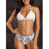 Top de punto con estampado floral Bikini Halter String Triangle Swimsuit