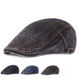 Berretto berretto da pittore regolabile su due lati in denim lavato da uomo