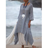 Women 3/4 Sleeve Loose O-neck High Low Hem Maxi Dress