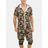 Herenmode Camouflage Korte mouw Rits Casual Jumpsuit Nachtkleding met capuchon