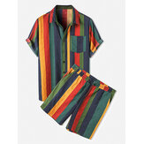 Mens Cotton Colorful Stripe Patch Pocket Bernapas Baju & Kemeja Lengan Pendek Koordinat