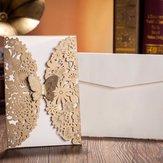 10db arany papír esküvői meghívó boríték lézervágott esküvői meghívók születésnapi party kártya
