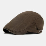 Men Cotton Solid Color British Style Outdoor Casual All-match Forward Hat Beret Hat